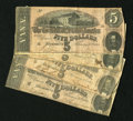 Confederate Notes:1864 Issues, Four T69 $5 1864s. This quartet is fairly well matched in eye appeal and grade. One or two of the notes show a bit of edge r...