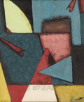 Fine Art - Painting, European:Modern  (1900 1949)  , LUIBOV POPOVA (Russian 1889-1924). Untitled. Mixed media on paper. 9 x 7-1/4 inches (22.9 x 18.4 cm). Signed lower right...