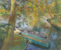 PIERRE GEORGES JEANNIOT (French 1848-1934) Barques en Automne, 1891 Pastel on paper laid on canvas 21-1/4 x 25-1/2 in