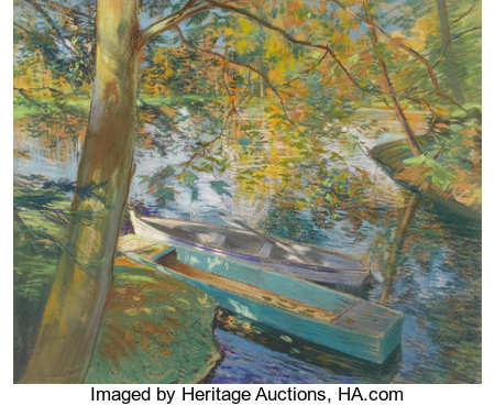 PIERRE GEORGES JEANNIOT (French 1848-1934) Barques en Automne, 1891 Pastel on paper laid on canvas 21-1/4 x 25-1/2 in...