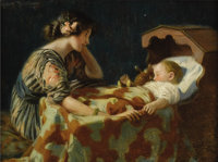 HARRY HERMAN ROSELAND (American 1866-1950) The Light of the Home Oil on illustration board 8 x 11 inches (17.1 x 23.5