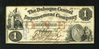 Dubuque, IA- Dubuque Central Improvement Co. $1 Feb. 1, 1858 This attractive issued note boasts the vignette of the reve...