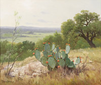 PORFIRIO SALINAS (1910-1973) Untitled Prickly Pear in Bloom Oil on canvas 20in. x 24in. Signed lower left  Porfirio Sa...