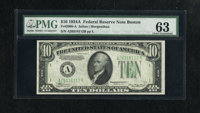 Fr. 2006-A $10 1934A Federal Reserve Note. PMG Choice Uncirculated 63. Bold embossing is clearly seen through the PMG ho...