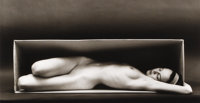 RUTH BERNHARD (American 1905 - 2006) In the Box, 1962 Gelatin silver print, mounted 5-2/8 x 9-1/2 inches (13.4 x 24.2