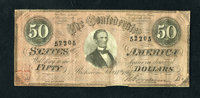T66 $50 1864. This attractive issue boasts original paper and a palmetto stamp on the bottom left corner. Fine-Very Fine...