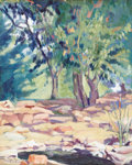 Texas:Early Texas Art - Regionalists, RUTH MONRO AUGUR (1886-1967). Untitled Landscape. Oil on linen.20in. x 16in.. Signed lower left. Provenance:. Estate of R...