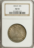 Bust Half Dollars: , 1824/4 50C AU55 NGC. O-110, R.2. Dusky caramel-gold, powder-blue,lilac, and lime patina enriches this satiny and slightly ...