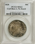 Bust Half Dollars: , 1828 50C Curl Base 2, No Knob MS63 PCGS. O-103, R.2. This vibrantlylustrous Select Mint State representative shows a deep ...