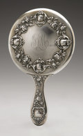Other:American, AN AMERICAN SILVER HAND MIRROR. Wallace & Sons Mfg. Co.,Wallingford, CT, 1898. Monogram to the reverse MAT, hallmark...