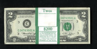 Fr. 1935-C $2 1976 Federal Reserve Notes. Original Pack of 100. Choice Crisp Uncirculated. The upper right extreme corne...