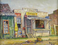 Texas:Early Texas Art - Regionalists, ROLLA TAYLOR (1871-1970). Tienda Espinosa. Oil oncanvasboard. 14in. x 18in.. Signed lower right. This paintingillust...