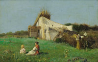 AMERICAN SCHOOL (19th Century) Mother and Child Resting in a Field Oil on canvas 10-1/4 x 15 inch