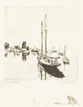 Prints:American, LIONEL BARRYMORE (American, 1878-1954). Quiet Waters.Etching. 9 x 8-3/4 inches (22.9 x 22.2 cm). Inscribed lower right...