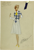 "Movie/TV Memorabilia:Original Art, Judy Garland Easter Parade Costume Sketch by Irene. A 12"" x18"" color costume design sketch for a grey-and-blue ... (Total: 1Item)"