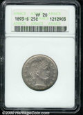 "1893-S 25C VF 20 ANACS. The latest Coin World ""Trends"" price is $65.00. The current Coin Dealer Newsletter (Gr..."