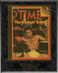 """Boxing Collectibles:Autographs, Muhammad Ali Signed Magazine Cover. Elegant application of """"TheGreatest"""" Muhammad Ali's signature, dated 1989, appears on ..."""