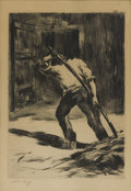Prints, LESSER URY (German, 1861-1931). Auf den Tenne, 1923 . Etching. 8 x 5-5/8 inches (20.3 x 14.2 cm). Ed. 100. Signed lower ...