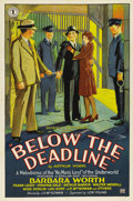 "Movie Posters:Crime, Below the Deadline (Chesterfield, 1929). One Sheet (27"" X 41"")Style B...."
