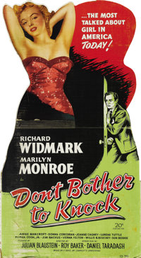 """Don't Bother to Knock (20th Century Fox, 1952). Standee (32"""" X 60"""")"""
