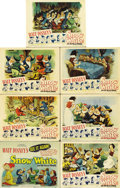"Movie Posters:Animated, Snow White and the Seven Dwarfs (RKO, R-1943). Title Lobby Card andScene Cards (6) (11"" X 14"").... (Total: 7 Items)"