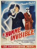 """Movie Posters:Horror, The Invisible Man (Universal, R-1950s). Belgian (14"""" X 18"""")...."""