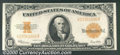 Large Size Gold Certificates:Large Size, 1922 $10 Gold Certificate, Fr-1173, XF. This note has been wash...