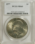 Eisenhower Dollars: , 1977 $1 MS65 PCGS. PCGS Population (862/402). NGC Census: (1672/196). Mintage: 12,596,000. Numismedia Wsl. Price for NGC/PC...