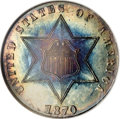 Proof Three Cent Silver: , 1870 3CS PR68 NGC. As of (4/07), the present lot is the single finest certified 1870 three cent silver. The PR68 grade sets...