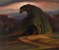 Paintings, OLIN TRAVIS (1888-1975). Defiance?, late 1920s. Oil on canvas. 20in. x 24in.. Signed lower left. Signed and titled verso...