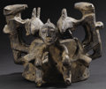 African: , Igbo (Nigeria)?. Headdress or cap mask. Wood, iron staples (an old repair), encrustations. Height: 8 inches Width: 11 ¼ inc...