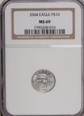 Modern Bullion Coins: , 2004 P$10 Tenth-Ounce Platinum Eagle MS69 NGC. PCGS Population(4099/70). Numismedia Wsl. Price for NGC...