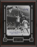 Autographs:Photos, Wilt Chamberlain and Bill Russell Signed Oversized Photograph.Serious hoops fans will immediately recognize the shot prese...