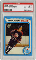 Hockey Cards:Singles (1970-Now), 1979-80 Topps Wayne Gretzky #18 PSA NM-MT 8. High-grade example of the coveted Gretzky rookie is presented here from the 19...