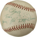 Autographs:Baseballs, Dizzy Dean Single Signed Baseball. When the Great Depressionthreatened the prosperity of many Americans, there was still t...