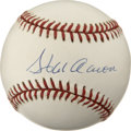 Autographs:Baseballs, Hank Aaron Single Signed Baseball with Gold Presentational Stamp.Stunning ONL (White) single from the man known as Hammerin...