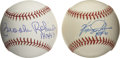 Autographs:Baseballs, Ferguson Jenkins and Brooks Robinson HOF Inscription Single SignedBaseballs Lot of 2. Cooperstown came calling for each of...