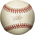 Autographs:Baseballs, Mark McGwire Single Signed Baseball. The great slugger Mark McGwirepresents a neat application of his signature to the swee...