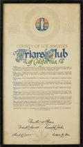 Movie/TV Memorabilia:Awards, CENSORED Club Award Plaque and Proclamation from County of LosAngeles. Included is a framed proclamation from L.A. County a...(Total: 1 Item)