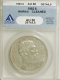 Coins of Hawaii: , 1883 $1 Hawaii Dollar--Cleaned--ANACS AU50 Details. NGC Census:(19/138). PCGS Population (49/171). Mintage: 500,000. (#10...