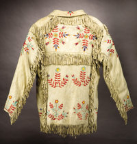 A SIOUX QUILLED AND FRINGED HIDE JACKET c. 1890