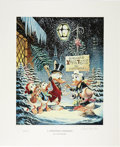 """Original Comic Art:Miscellaneous, Carl Barks - """"A Christmas Trimming"""" Miniature Lithograph LimitedEdition Print #4/595 (Another Rainbow, 1999)...."""