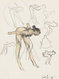 Fine Art - Painting, American:Contemporary   (1950 to present)  , FRANK GALLO (American, b. 1933). Study for a Sculpture,1965. Ink and wash on paper. 13-1/2 x 10-1/2 inches (34.3 x 26.7...
