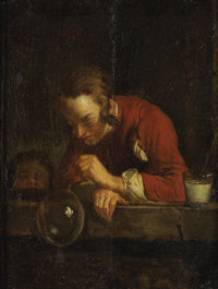 After JEAN-BAPTISTE-SIMÉON CHARDIN (French, 1699-1779) The Soap Bubble, Late 19th Century Oil on boa