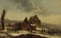 Fine Art - Painting, European:Antique  (Pre 1900), FLEMISH SCHOOL (18th Century). A Village Scene with PeopleSkating. Oil on cradled wood board. 13-1/2 x 21-1/4 inches(3...