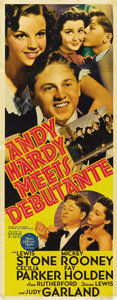 "Movie Posters:Comedy, Andy Hardy Meets Debutante (MGM, 1940). Insert (14"" X 36"")...."