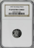 Modern Bullion Coins: , 1997-W P$10 Tenth-Ounce Platinum Eagle PR69 Deep Cameo NGC. NGCCensus: (0/1). PCGS Population (1246/12). Mintage: 37,260. ...
