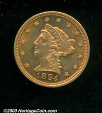 1894 $2 1/2 MS 60. With deep, vivid, crimson-copper surfaces, this lightly abraded example has the eye appeal of a consi...