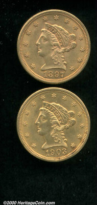 1897 $2 1/2 MS 61, there are curiously few abrasions on both sides of this reddish-orange specimen; and a 1903 MS 60 Cle...