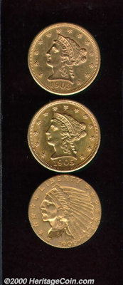 1903 $2 1/2 MS 61, the smooth surfaces have the look of a higher grade; 1905 MS 60, a well struck BU example; and a 1909...